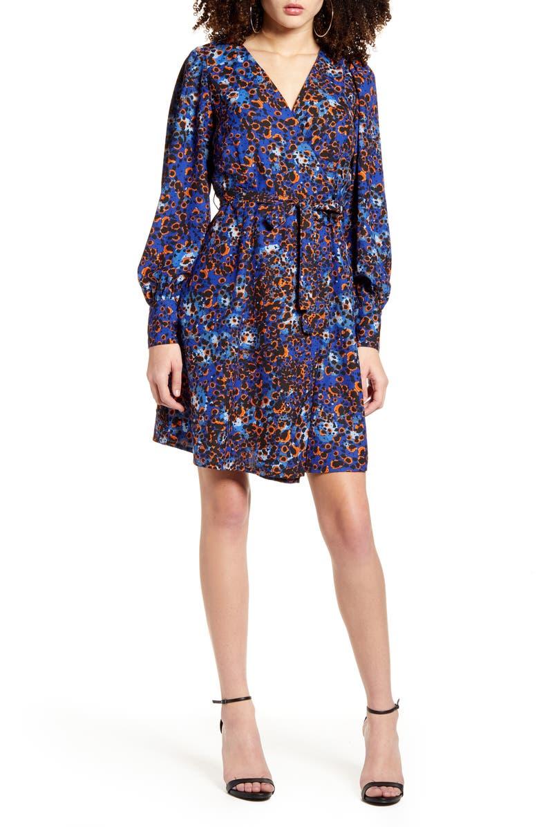 VERO MODA Laia Long Sleeve Wrap Dress, Main, color, MAZARINE BLUE
