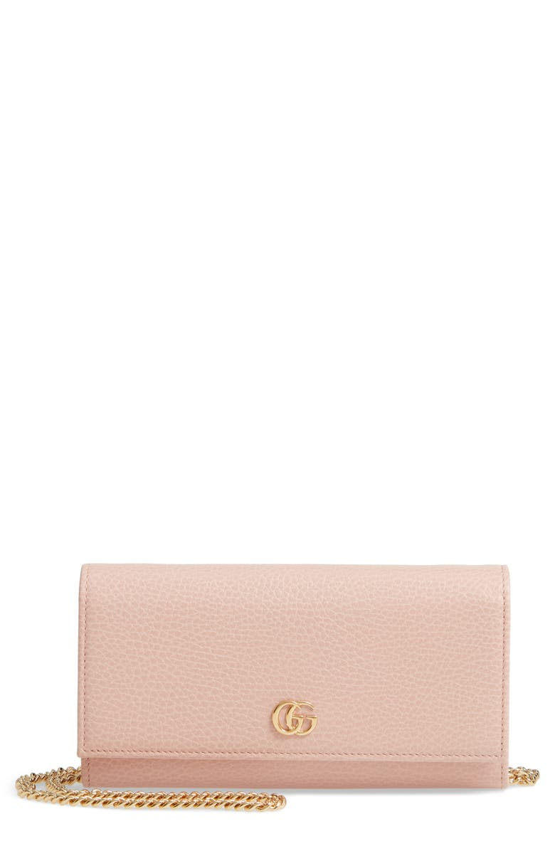 GUCCI Petite Leather Continental Wallet on a Chain, Main, color, PERFECT PINK