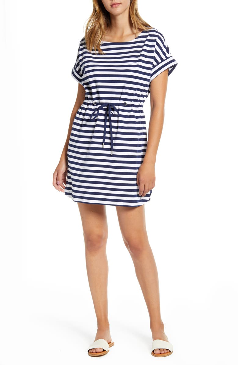 TOMMY BAHAMA Amira Short Sleeve Stripe Dress, Main, color, ISLAND NAVY