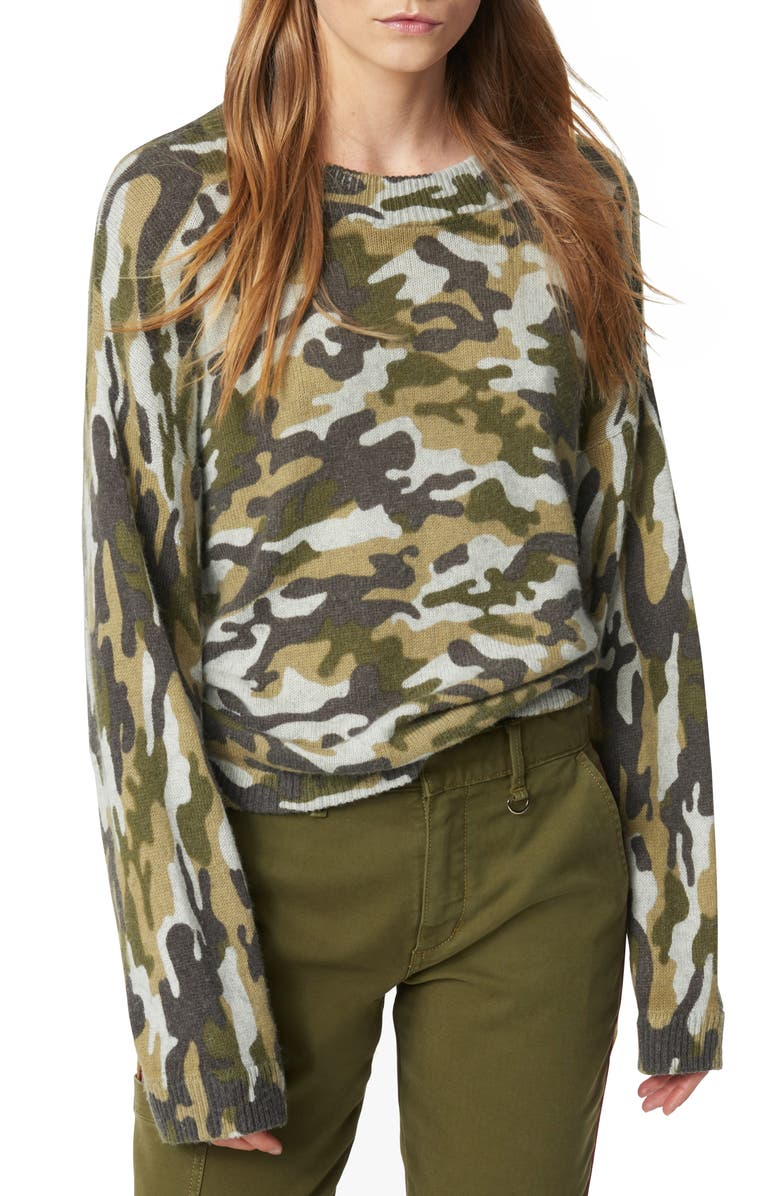 JOE'S Camo Crewneck Sweater, Main, color, GREEN CAMO
