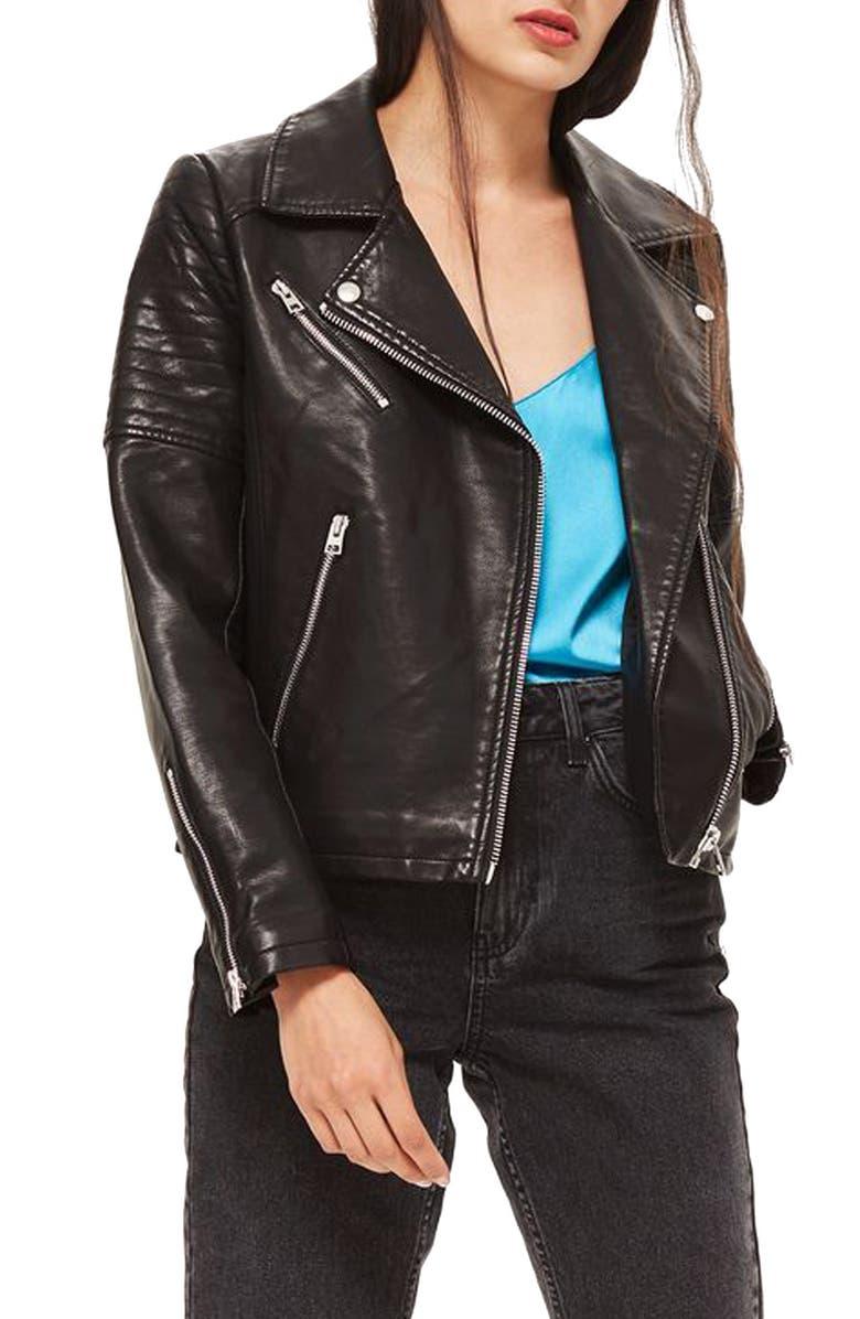 TOPSHOP Blossom Faux Leather Biker Jacket, Main, color, Black
