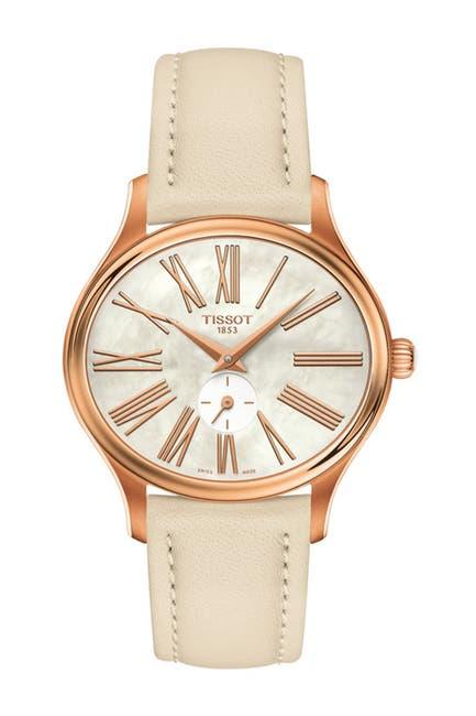 Image of Tissot Women's Bella Ora Oval Leather Strap Watch, 28mm