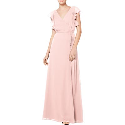 #levkoff Ruffle Sleeve Chiffon Wrap Evening Dress, Pink