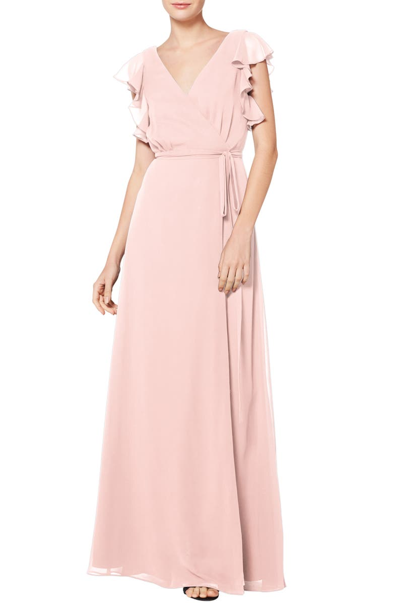 #LEVKOFF Ruffle Sleeve Chiffon Wrap Evening Dress, Main, color, PETAL PINK