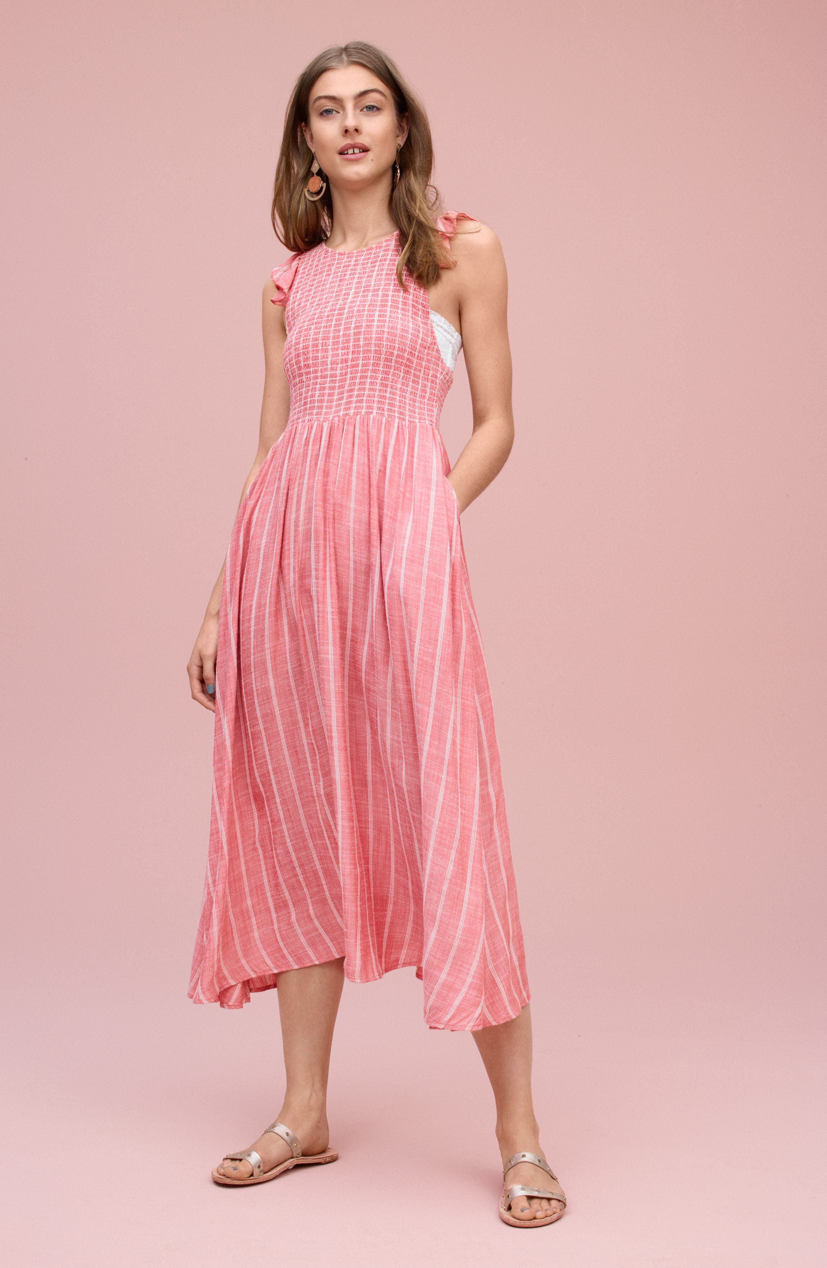 ,                             Butterflies Chambray Midi Dress,                             Alternate thumbnail 6, color,                             GOLD