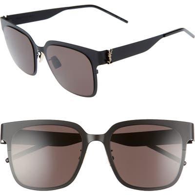 Saint Laurent 5m Flat Front Sunglasses - Semi Matte Black/ Gold Logo