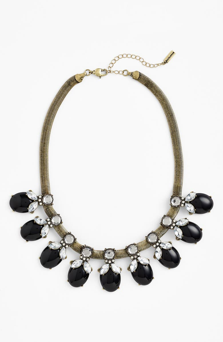 BAUBLEBAR 'Rosebud' Mixed Stone Frontal Necklace, Main, color, BLACK MULTI/ BRASS