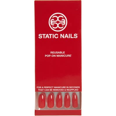 Static Nails Sexy Red Pop-On Reusable Manicure Set - Sexy Red Coffin