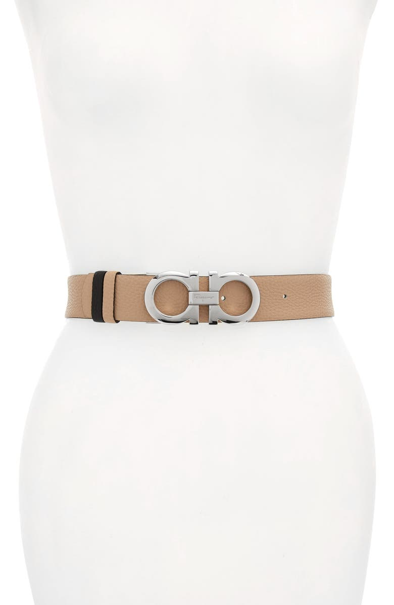 SALVATORE FERRAGAMO Reversible Gancini Calfskin Leather Belt, Main, color, NEW BISQUE