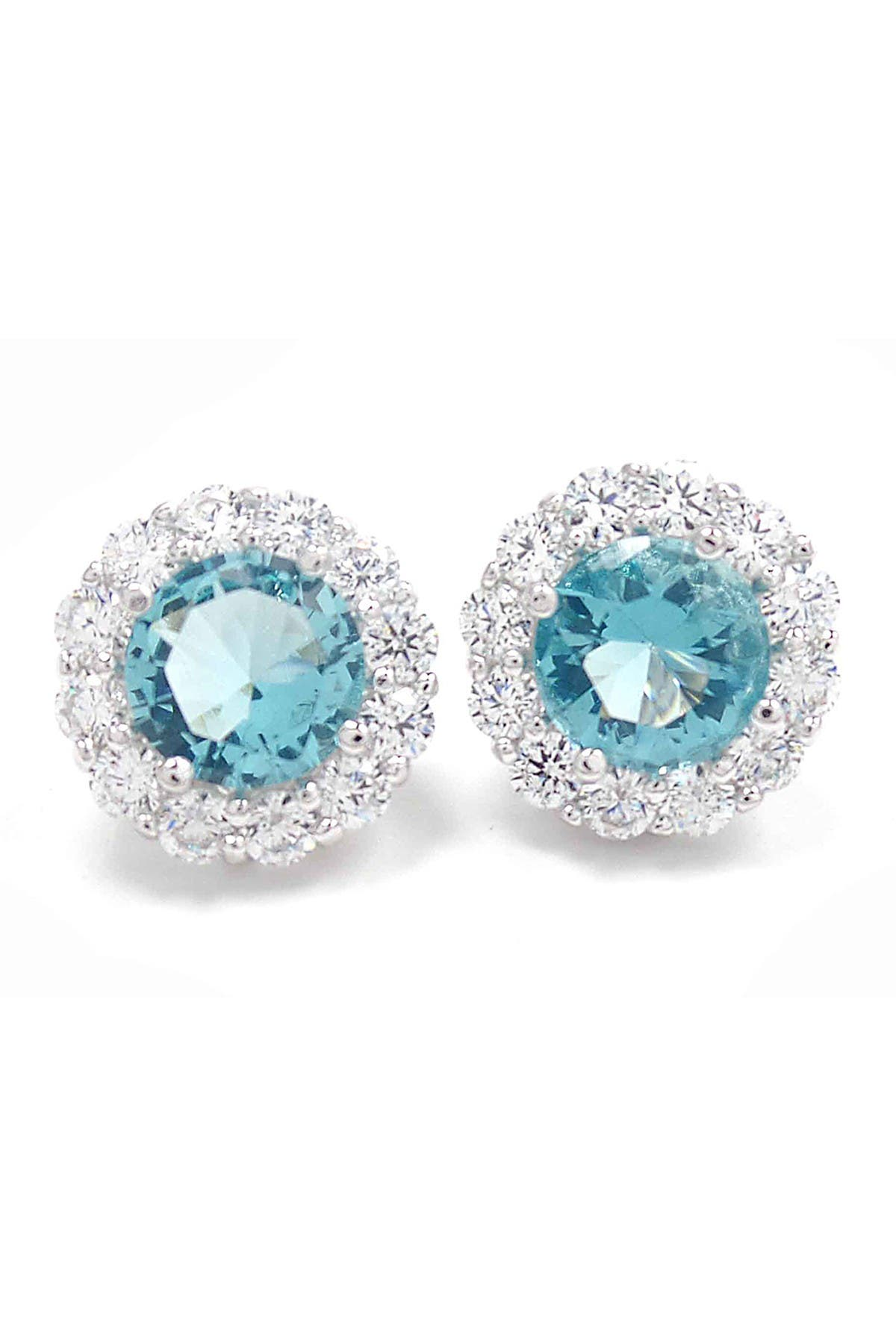 Image of Savvy Cie Rhodium Plated Cubic Zirconia Stud Earrings