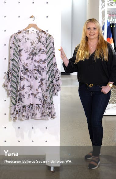 Harlow Floral Ruffle Detail Silk Chiffon Long Sleeve Minidress, sales video thumbnail