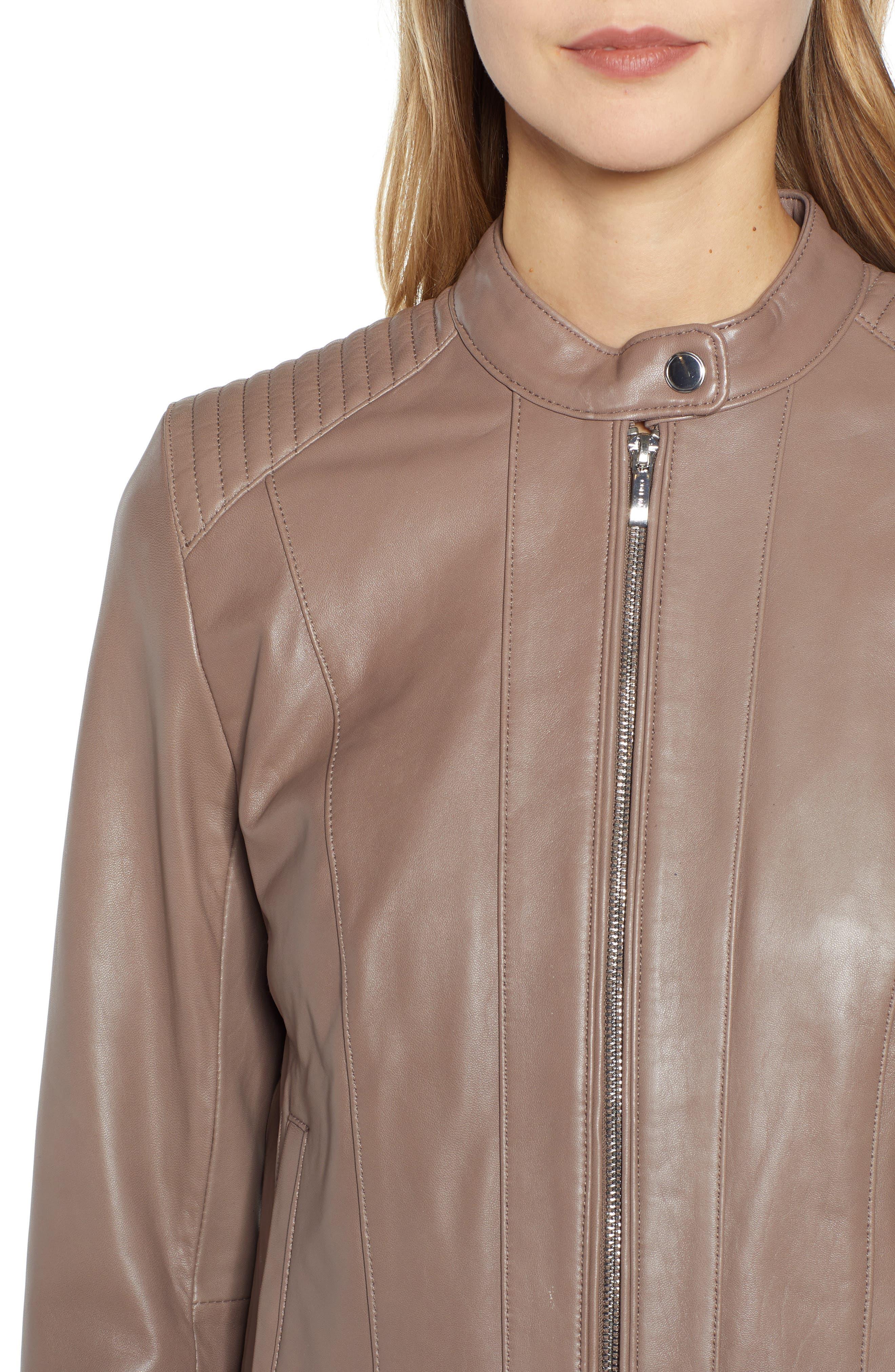 ,                             Leather Moto Jacket,                             Alternate thumbnail 5, color,                             TAUPE