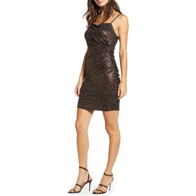 Leith Ruched Body-Con Minidress, Metallic