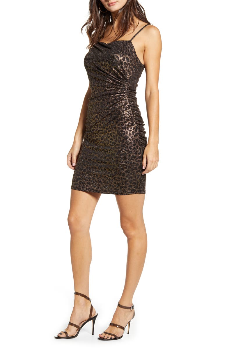 LEITH Ruched Body-Con Minidress, Main, color, GOLD BLACK LEOPARD