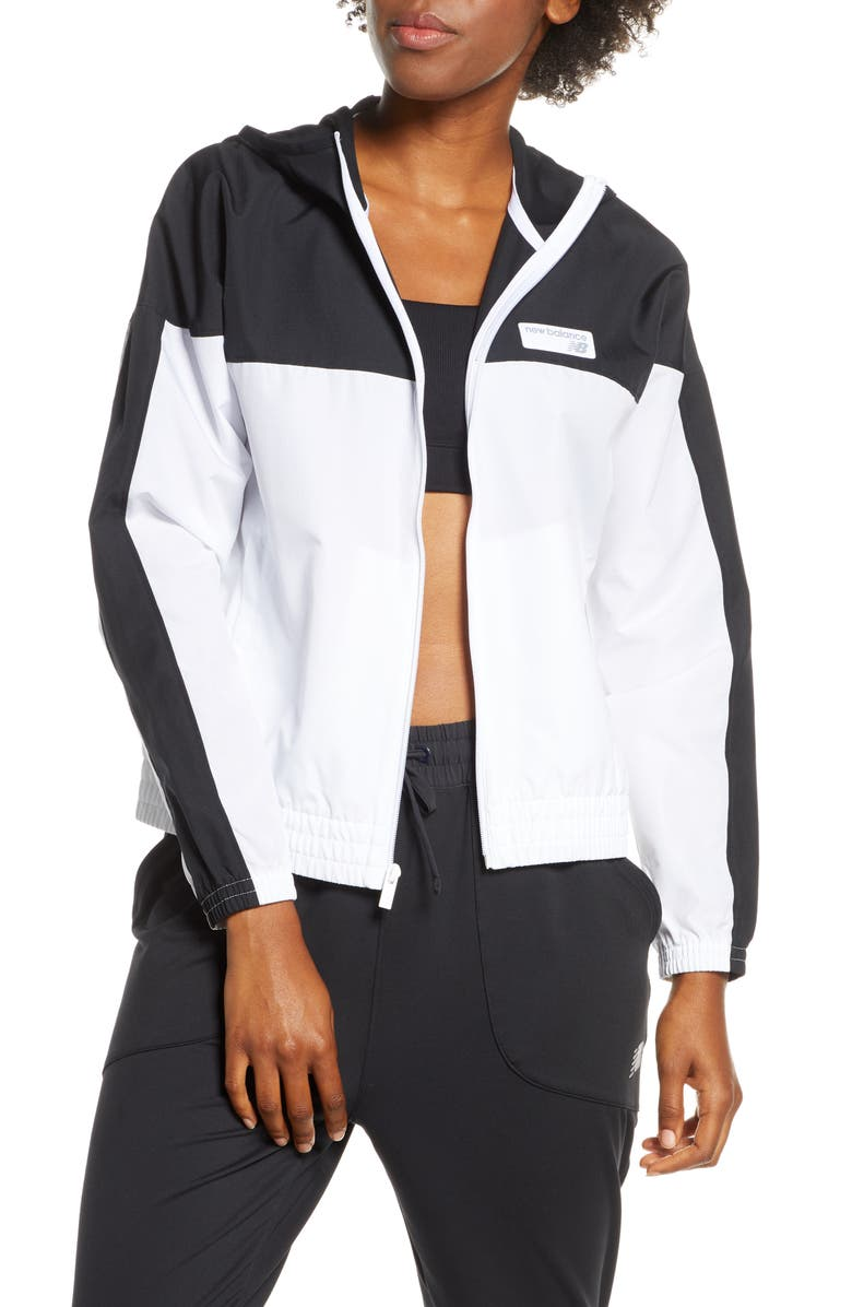 NEW BALANCE Athletics Colorblock Water Resistant Windbreaker, Main, color, BLACK/ WHITE