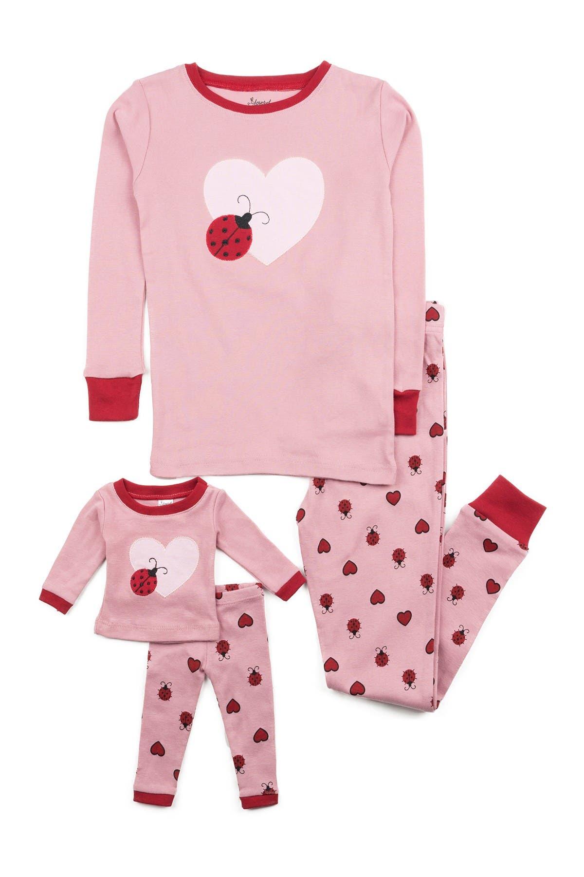 Image of Leveret Ladybug Pajama & Matching Doll Pajama Set