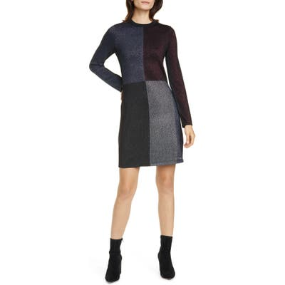 Ted Baker London Colour By Numbers Redlo Metallic Long Sleeve Sweater Dress, (fits like 0-2 US) - Black