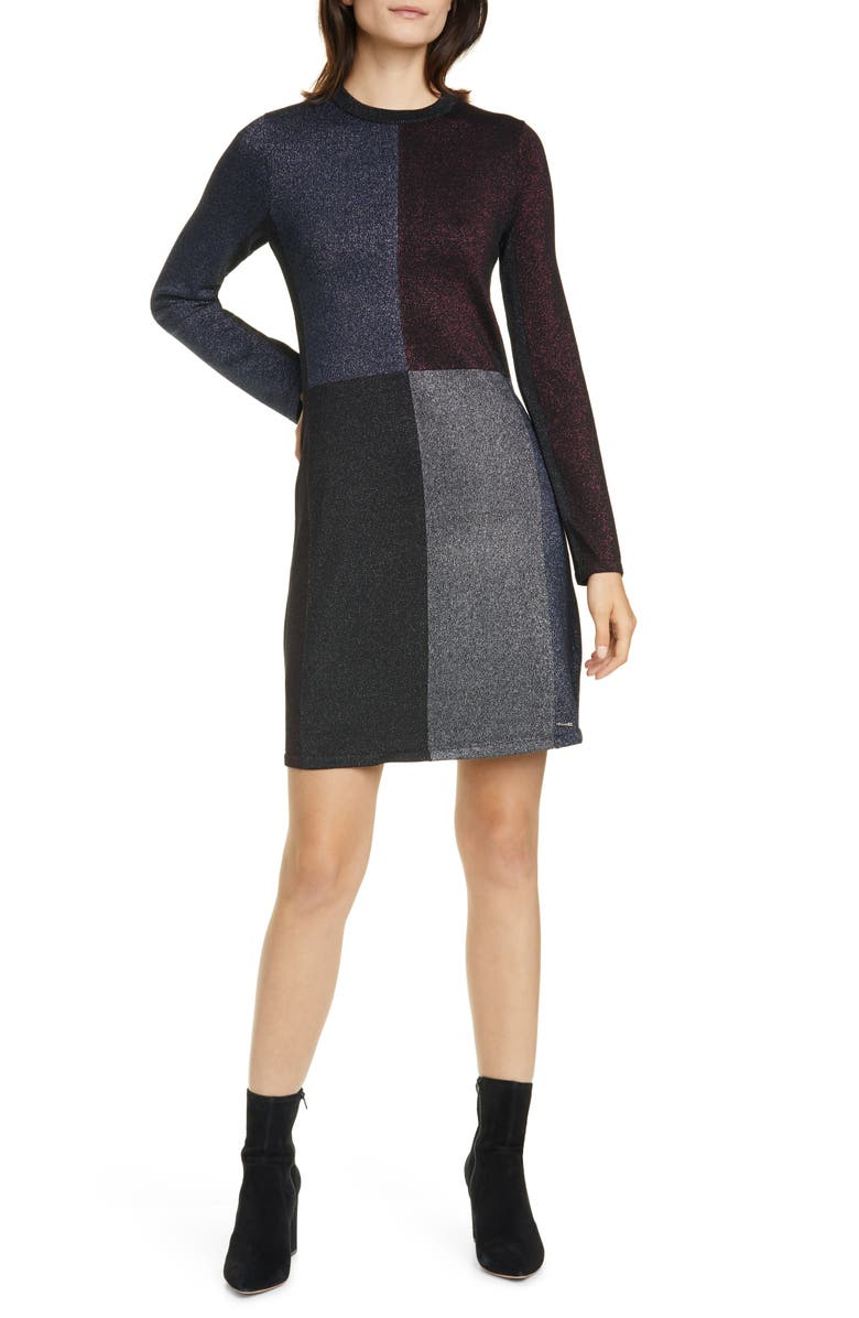 TED BAKER LONDON Colour by Numbers Redlo Metallic Long Sleeve Sweater Dress, Main, color, 001