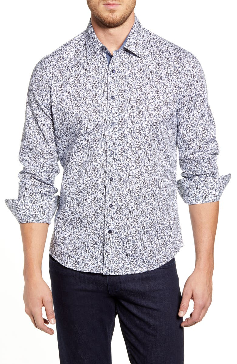 STONE ROSE Regular Fit Floral Button-Up Sport Shirt, Main, color, WHITE