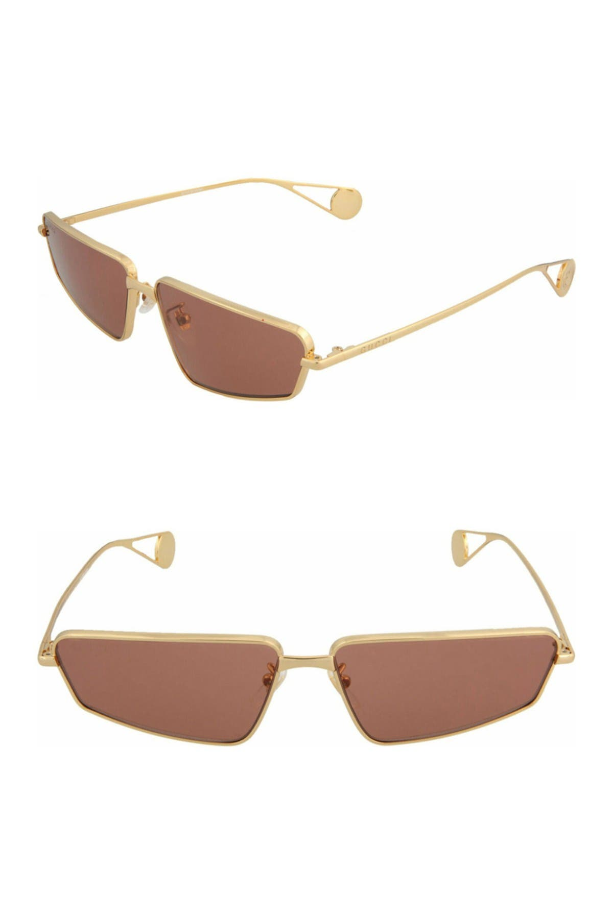 Gucci 63mm Novelty Rectangle Sunglasses In Gold