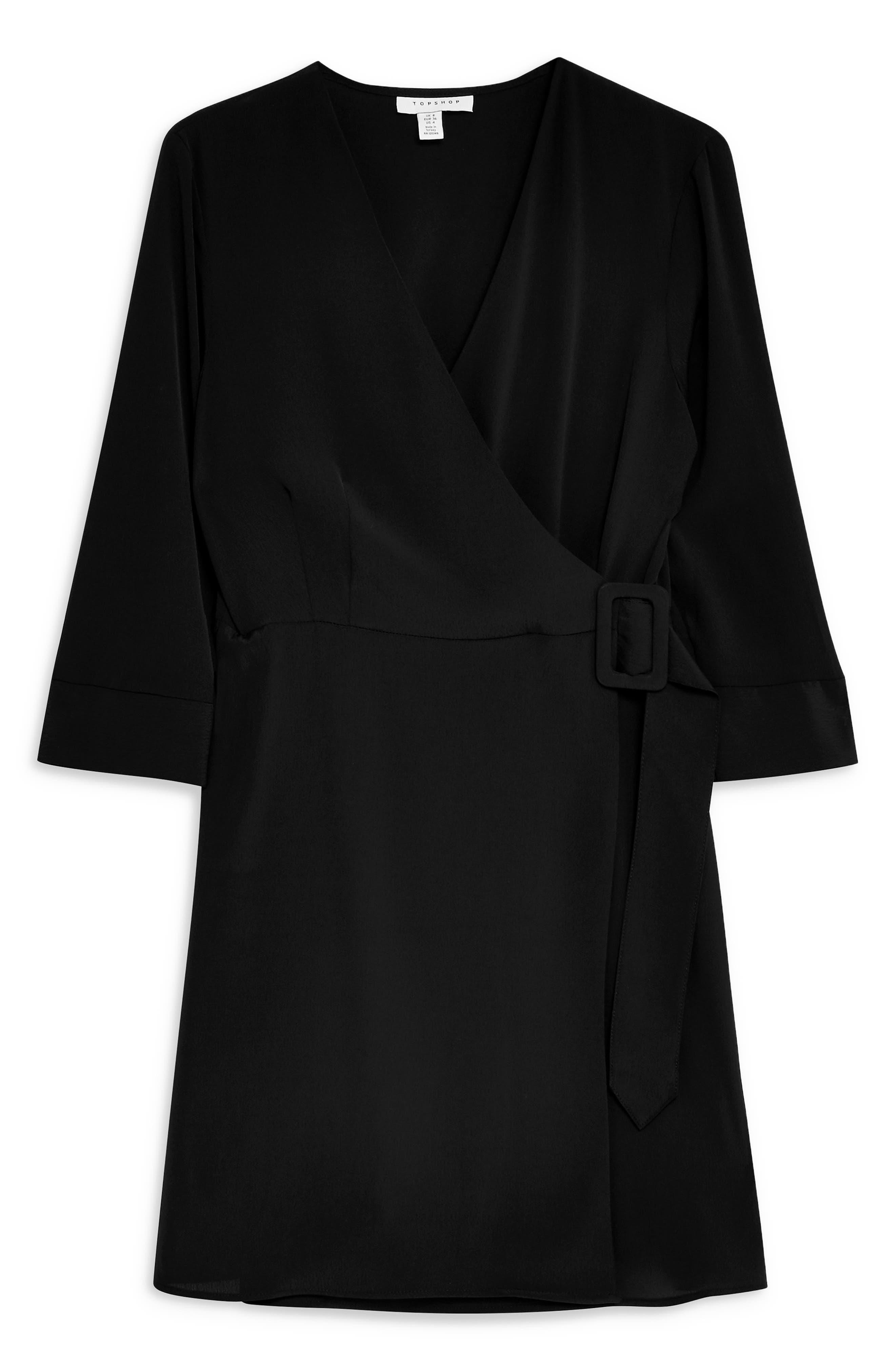 ,                             Wrap Minidress,                             Alternate thumbnail 5, color,                             BLACK