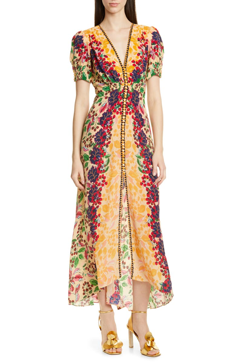 SALONI Lea Print Silk Maxi Dress, Main, color, CHAMPAGNE BERRIES
