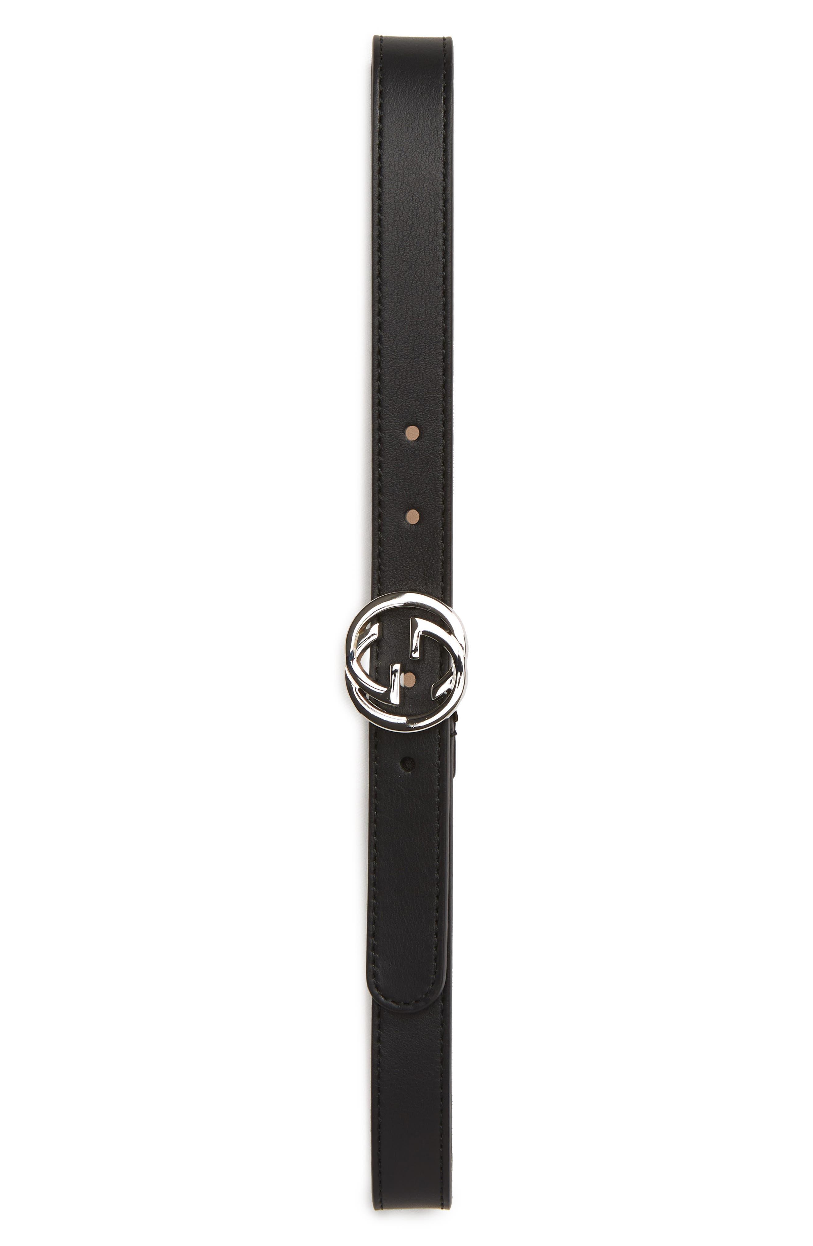 Toddler Gucci DoubleG Logo Leather Belt Size Medium  Nero