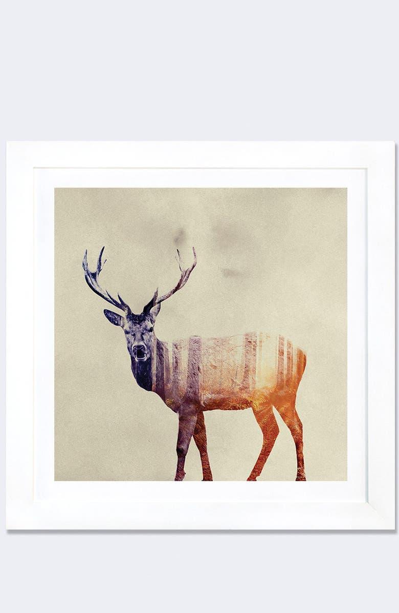 ICANVAS 'Deer' Framed Paper Print, Main, color, BROWN