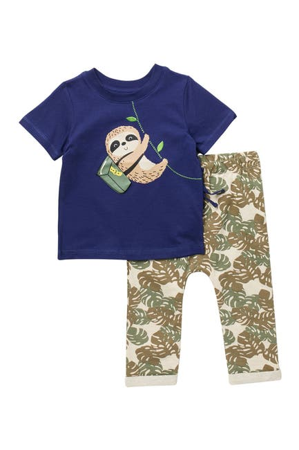 Image of koala baby Smiling Sloth Printed Tee & Pants Set