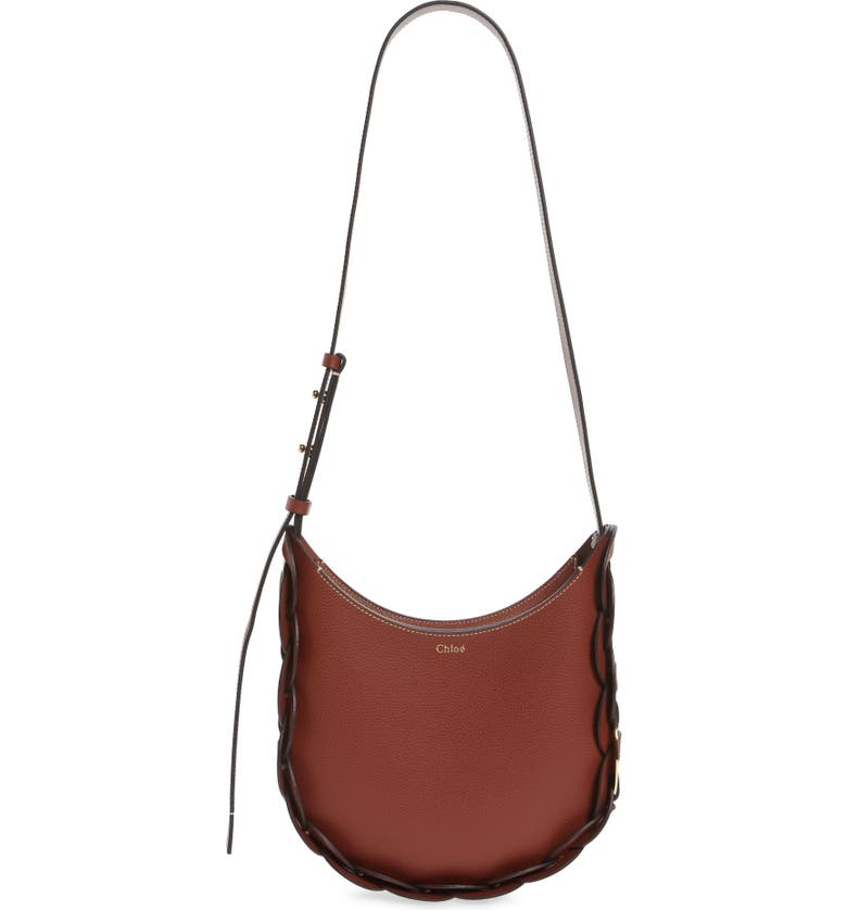 CHLOÉ Small Darryl Leather Shoulder Bag, Main, color, SEPIA BROWN