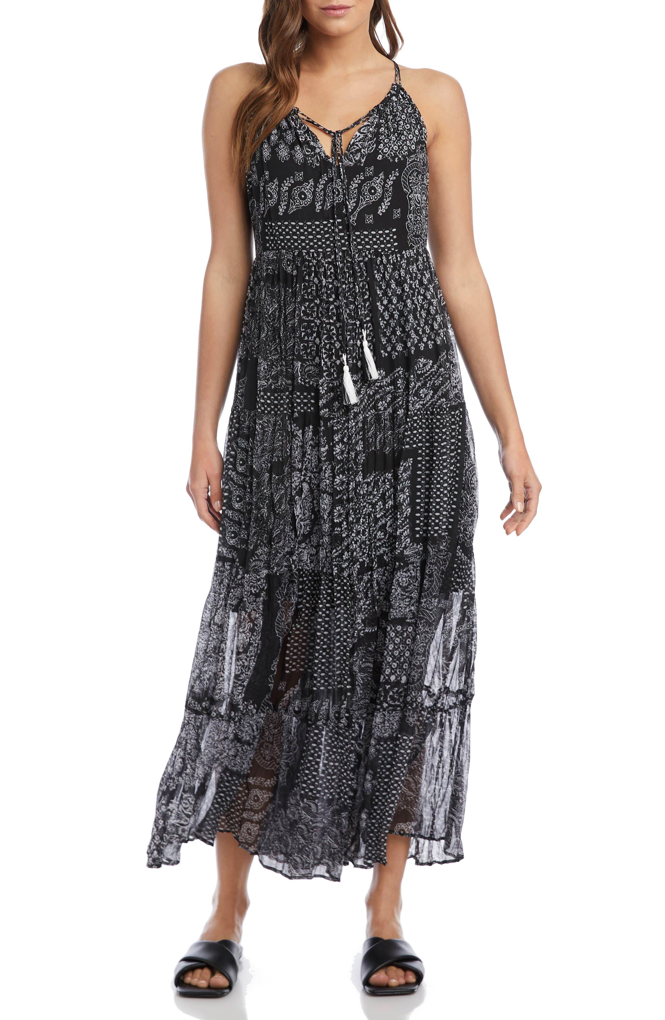 Patchwork Print Tiered Maxi Dress