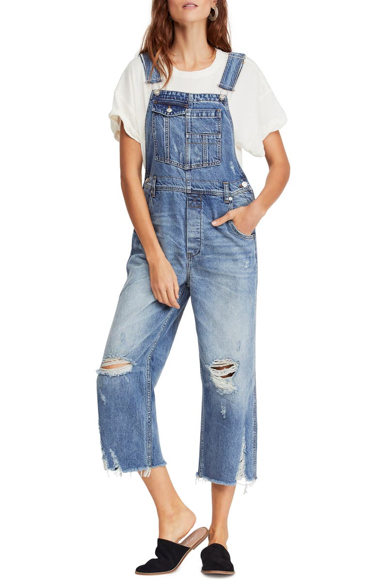 FREE PEOPLE Baggy Crop Overalls, Main, color, 456