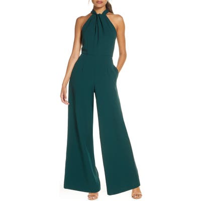 Julia Jordan Halter Wide Leg Jumpsuit, Green
