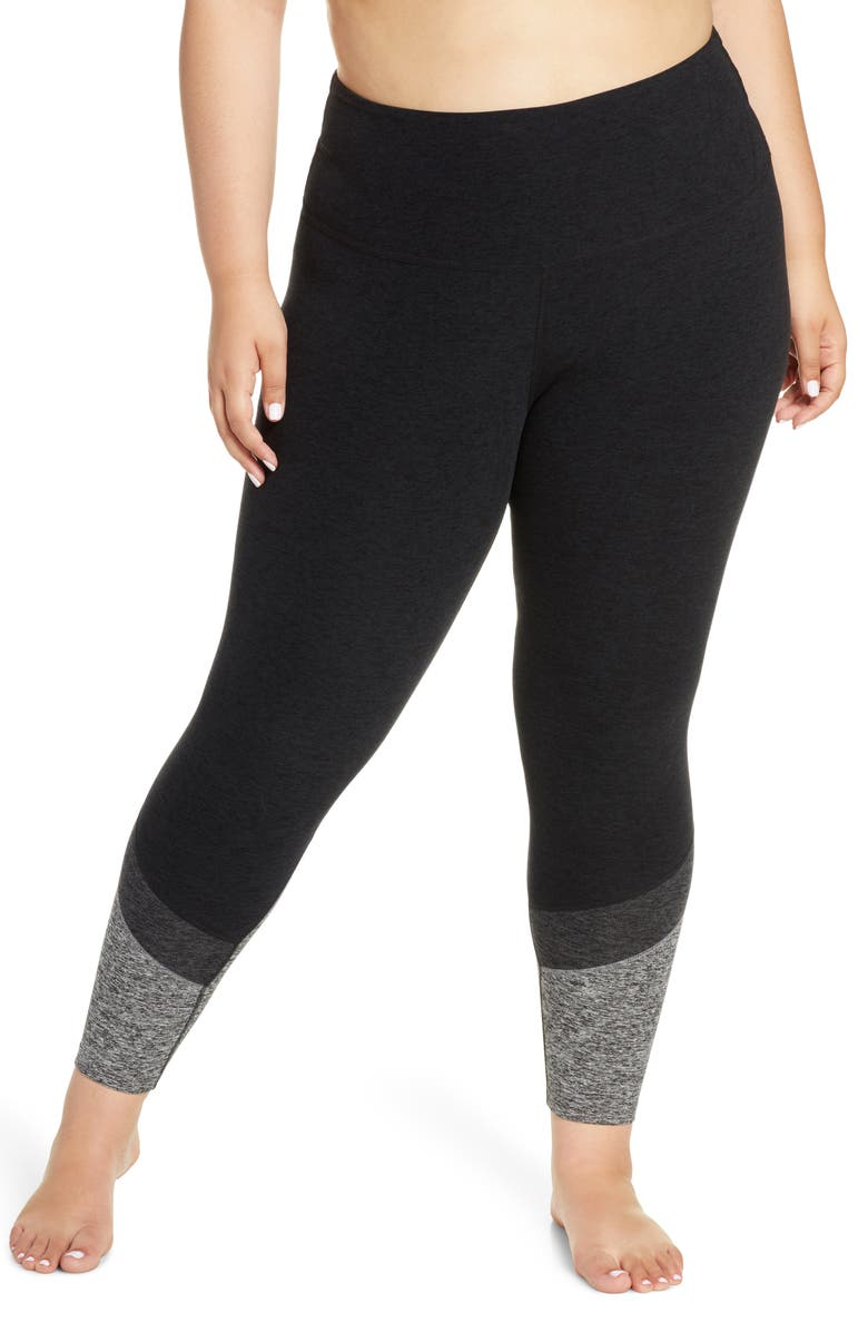 BEYOND YOGA High Waist Color Block Leggings, Main, color, 001