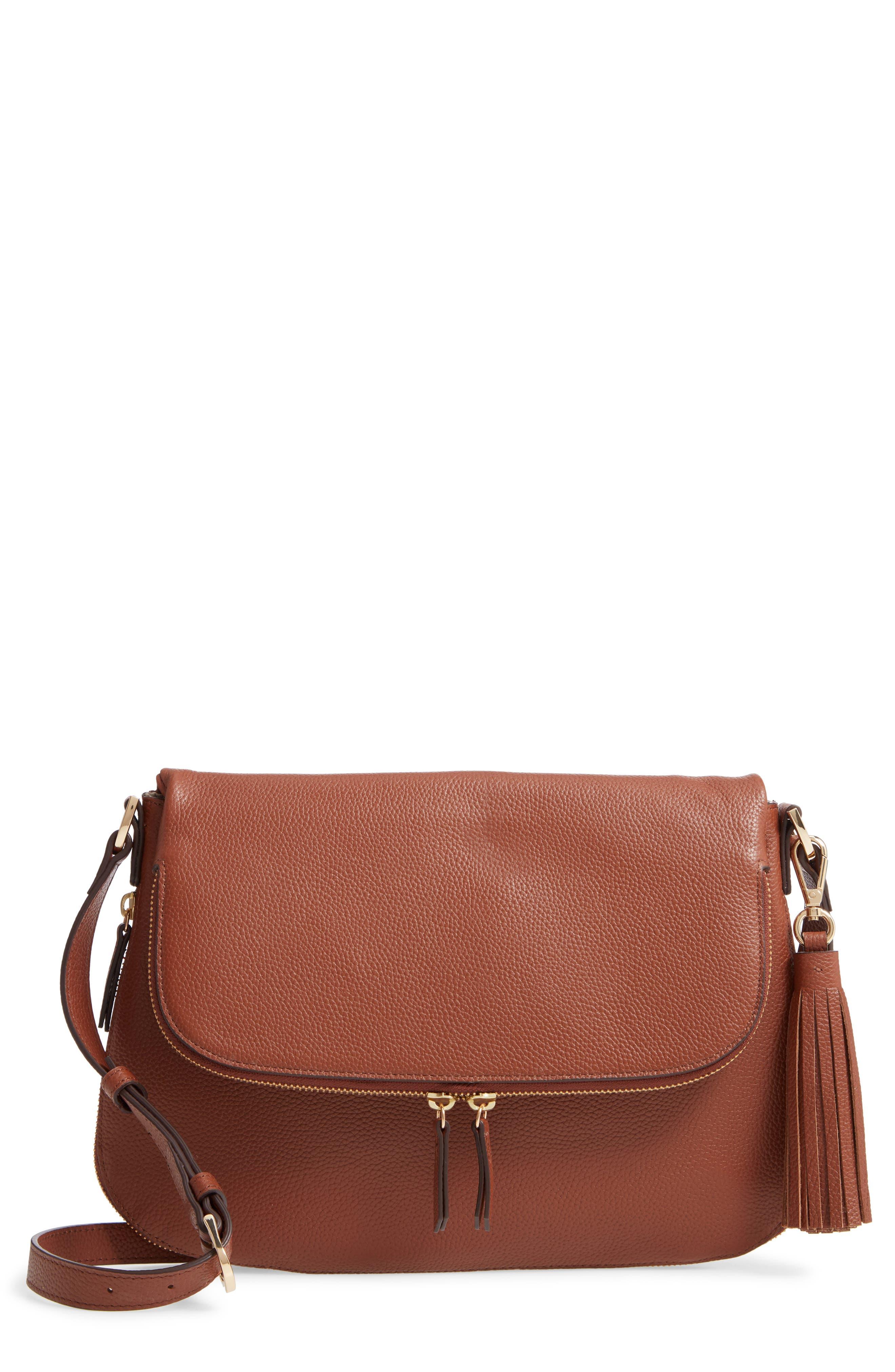 Kara Leather Expandable Crossbody Bag, Main, color, BROWN AZTEC