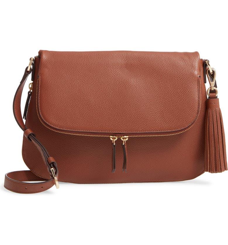 NORDSTROM Kara Leather Expandable Crossbody Bag, Main, color, BROWN AZTEC