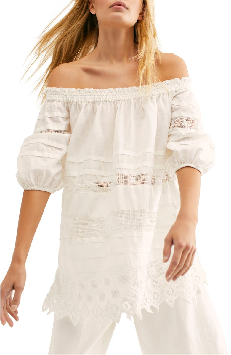 FREE PEOPLE Sounds of Summer Off the Shoulder Tunic Top, Main, color, 100