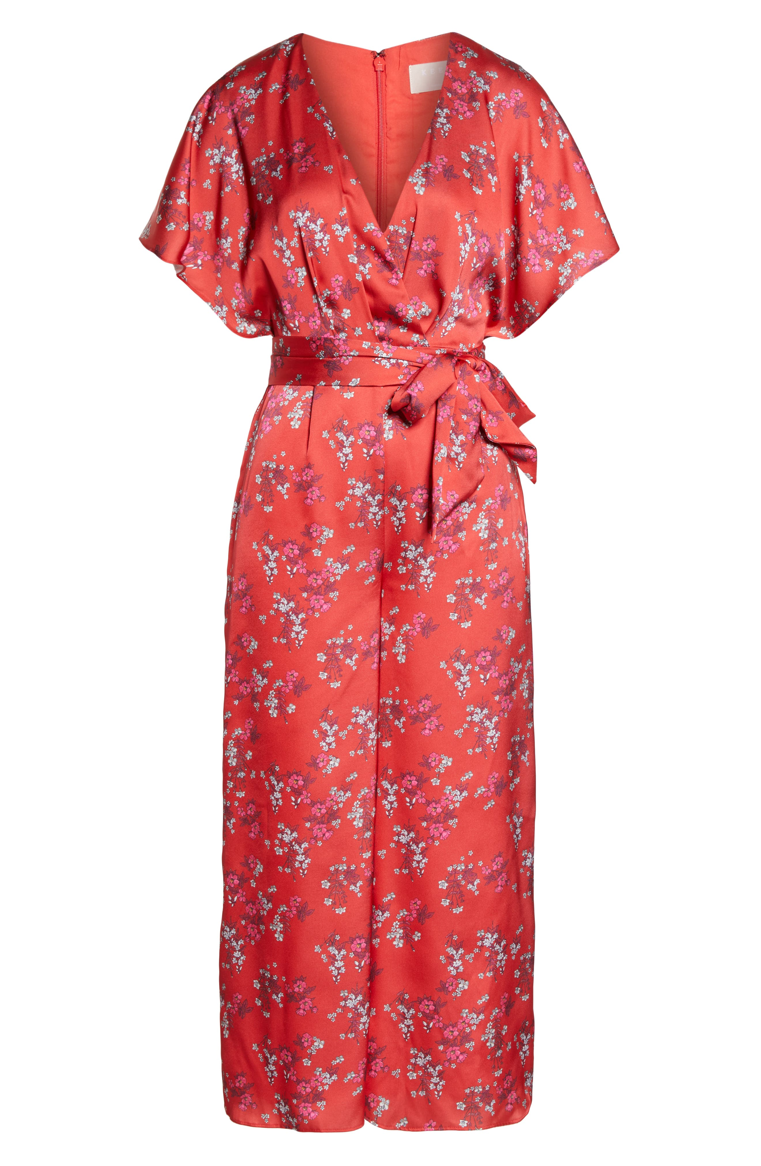 ,                             Stop Me Wrap Jumpsuit,                             Alternate thumbnail 7, color,                             SMALL RED FLORAL