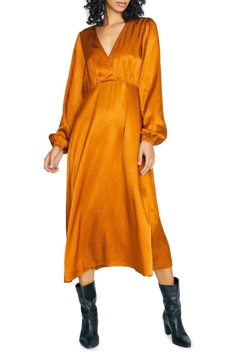 SANCTUARY Earth Bound Textured Dot Long Sleeve Midi Dress, Main, color, EARTH STONE