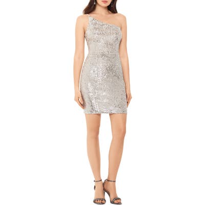 Xscape One Shoulder Sequin Minidress, Beige