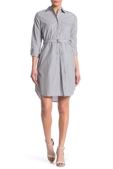 Image of Calvin Klein Boyfriend Striped Short Shirt Dress