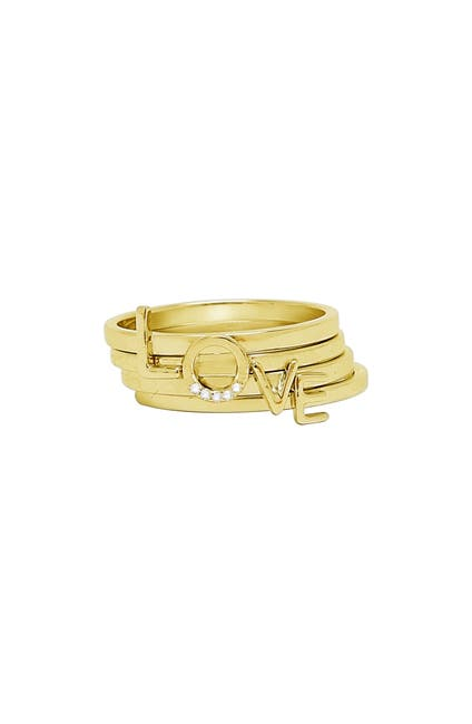 Image of ADORNIA 14K Yellow Gold Plated Sterling Silver 'Love' Stacking Rings