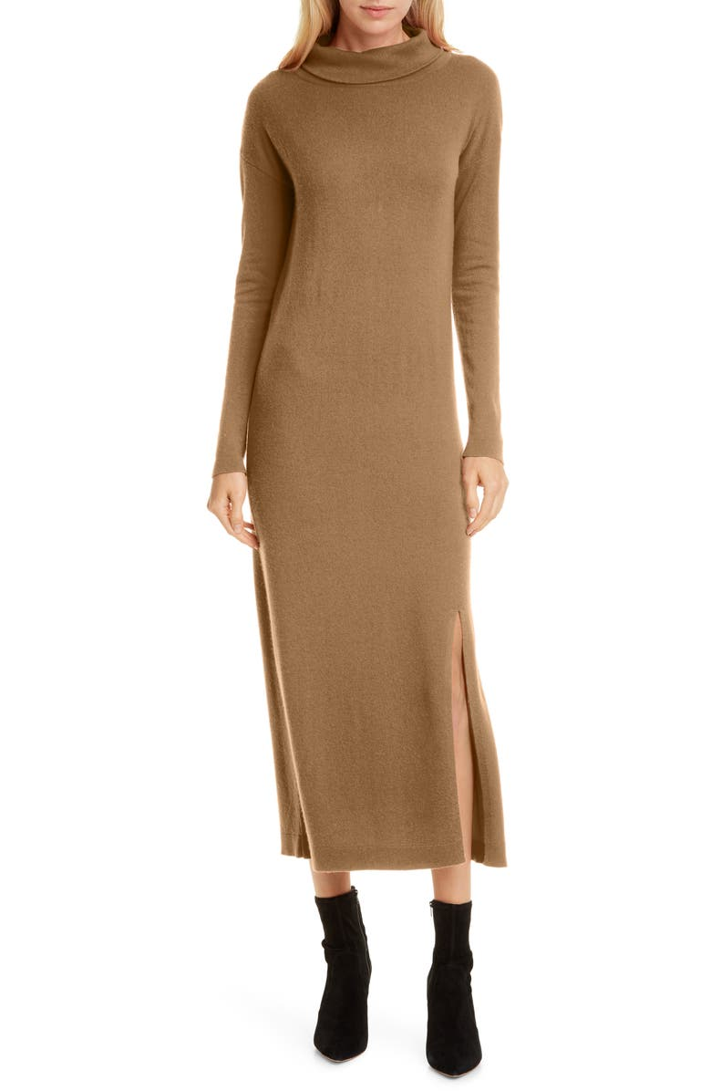 ALLUDE Turtleneck Long Sleeve Wool & Cashmere Midi Dress, Main, color, CARAMEL