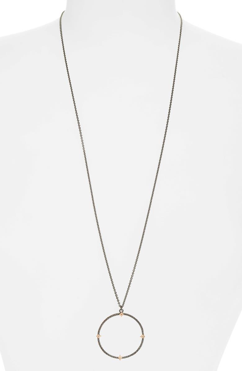 ARMENTA Open Circle Pendant Necklace, Main, color, SILVER