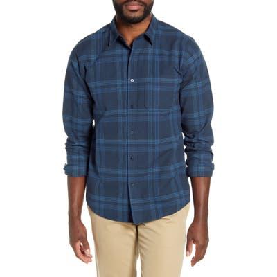 Frame Plaid Button-Up Flannel Shirt, Blue