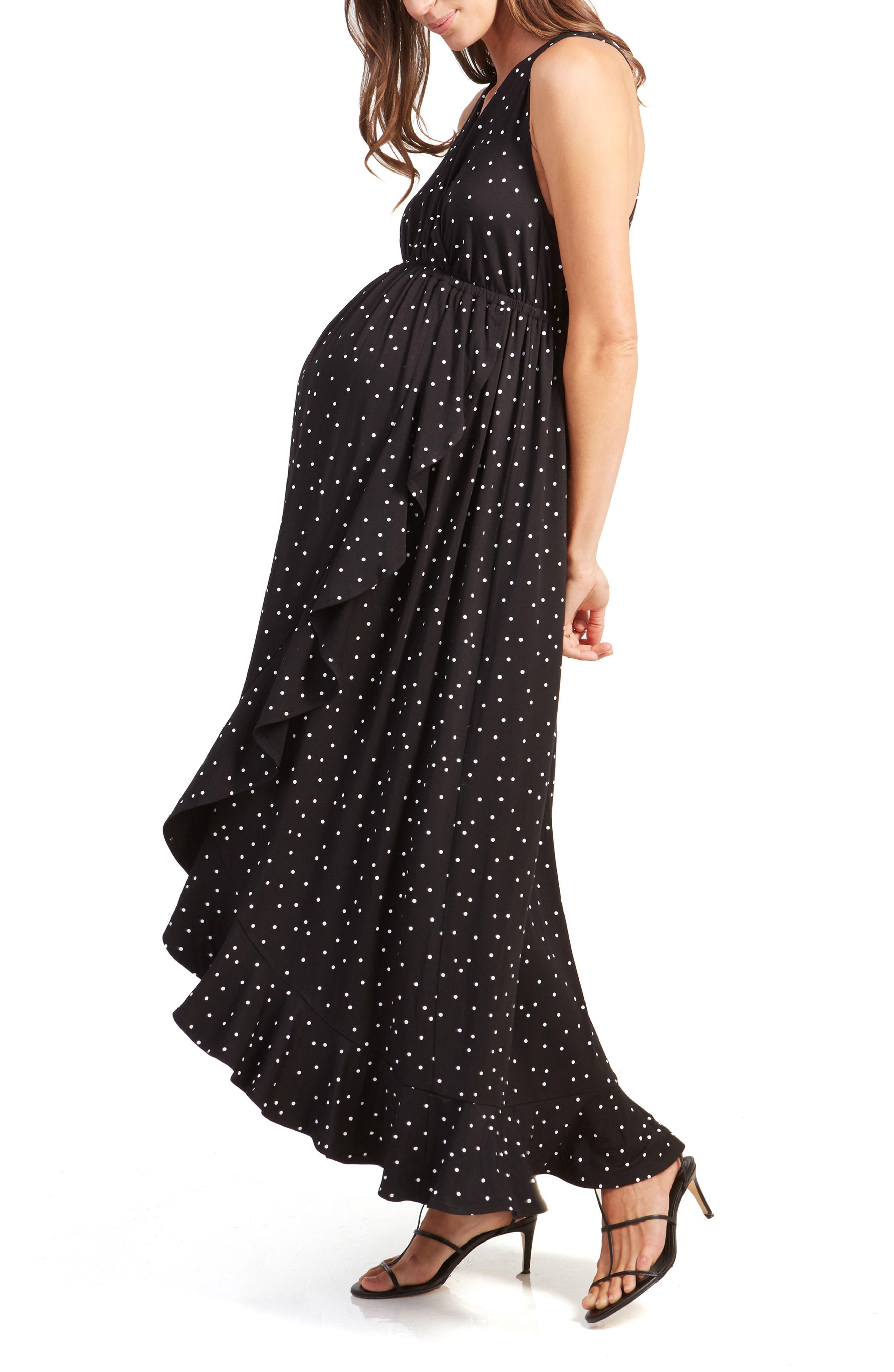 ,                             Active Racerback Ruffle Maternity Maxi Dress,                             Alternate thumbnail 3, color,                             BLACK POLKA DOT PRINT