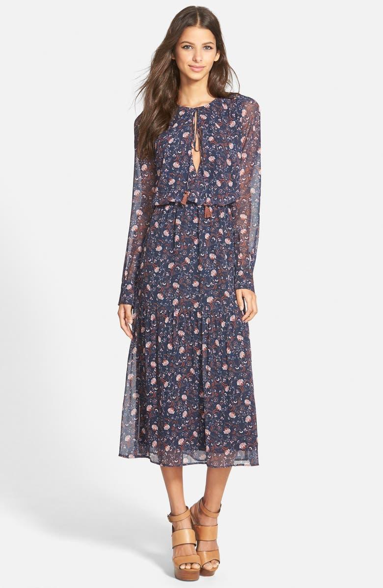 WAYF Keyhole Midi Dress, Main, color, 400