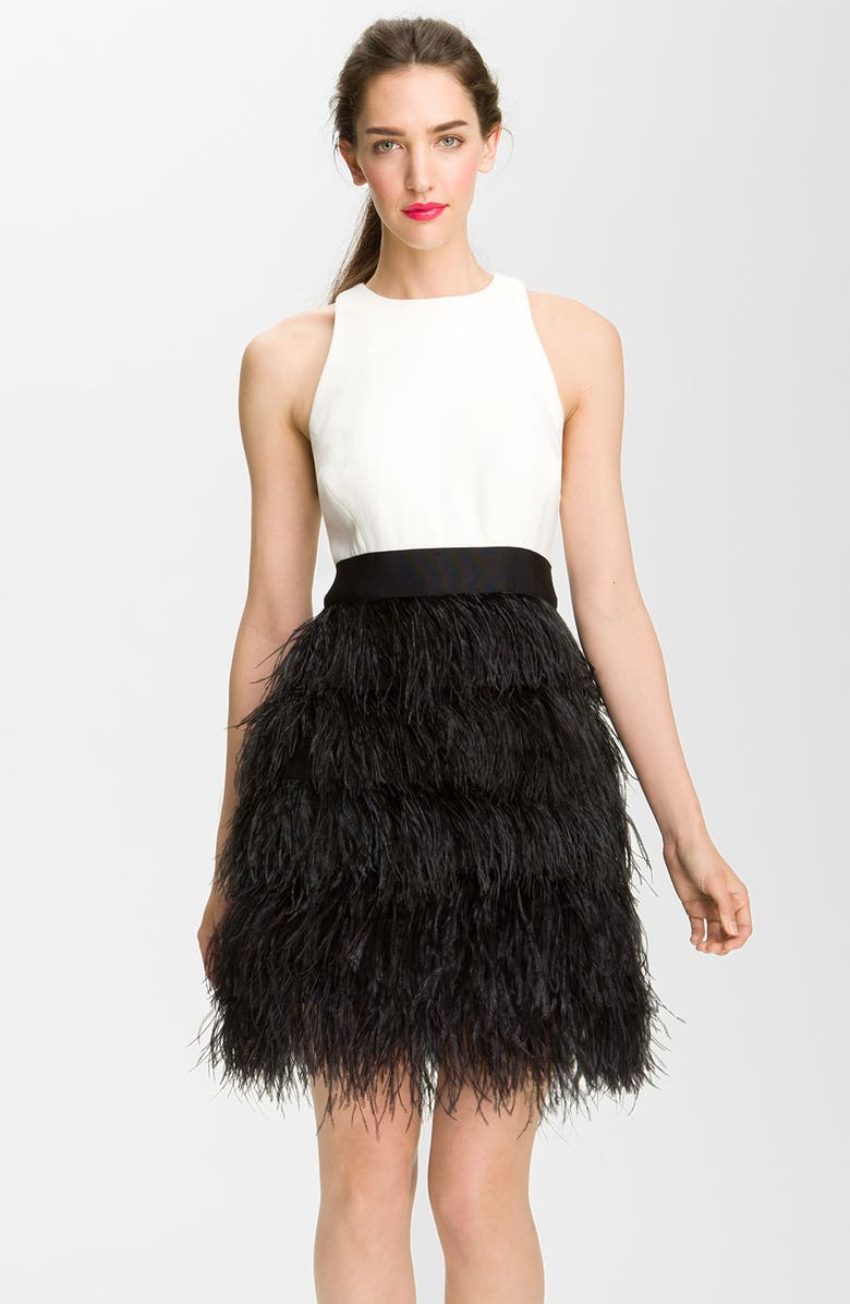 MILLY 'Sasha' Feathered Dress, Main, color, 001