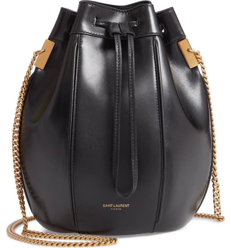 SAINT LAURENT Small Talitha Leather Bucket Bag, Main, color, NOIR