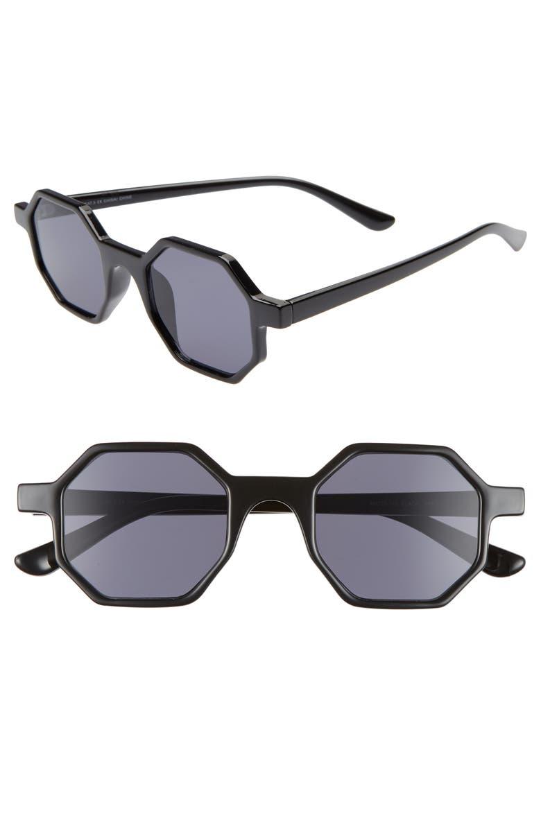 THE RAIL Jian 48mm Octagon Sunglasses, Main, color, BLACK/ GREY